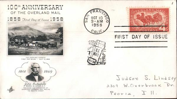 100th Anniversary of the Overland Mail 1858-1958 First Day Covers