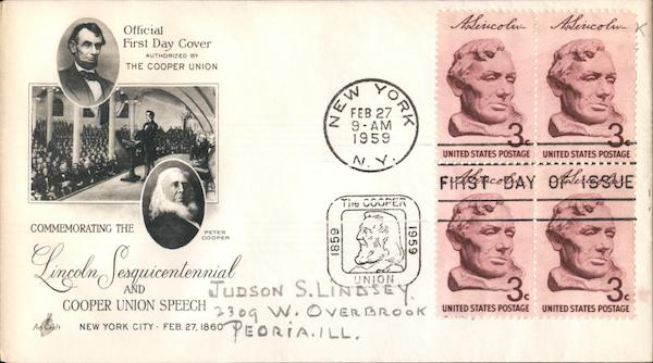 Commemorating the Lincoln Sesquicentennial and Cooper Union Speech Block of Stamps