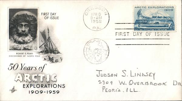 50 Years of Arctic Exploration 1909-1959 First Day Covers