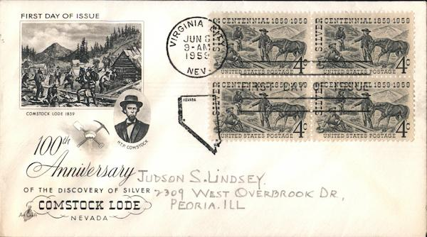 100th Anniversary of the Discovery of Silver - Comstock Lode Nevada Block of Stamps