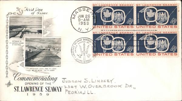Commemorating Opening of the St. Lawrence Seaway 1959 Block of Stamps