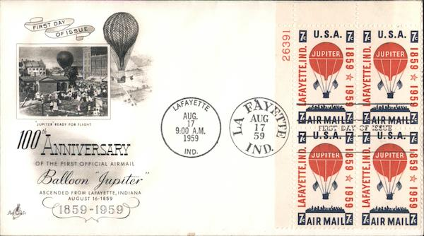 100th Anniversary of the First Official Airmail Balloon Jupiter 1859-1959 Plate Block of Stamps