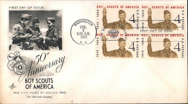 50th Anniversary Boy Scouts of America Block of Stamps
