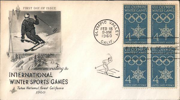 International Winter Sports Games Block of Stamps First Day Covers
