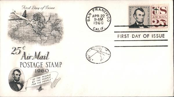 25c Air Mail Postage Stamp 1960 First Day Covers