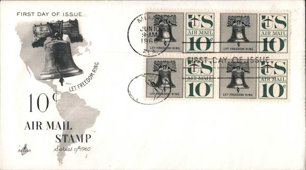 10c Air Mail Stamp Series of 1960 Block of Stamps First Day Covers