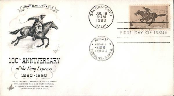 100th Anniversary of the Pony Express, 1860-1960 First Day Covers
