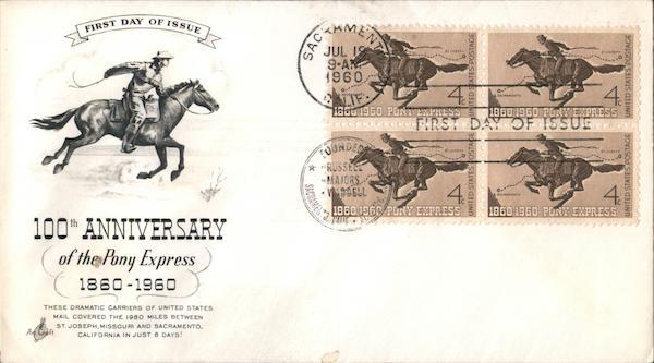 100th Anniversary of the Pony Express 1860-1960 Block of Stamps