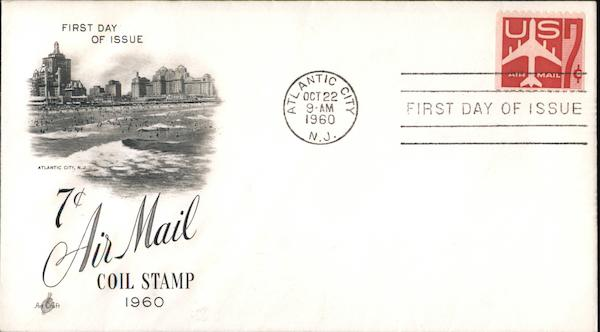 7c Air Mail Coil Stamp 1960 First Day Covers