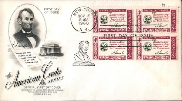 A. Lincoln Block of Stamps First Day Covers