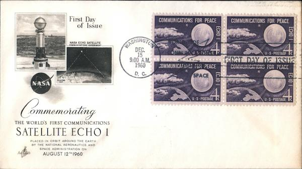 Commemorating the World's First Communications Satellite Echo 1 Block of Stamps