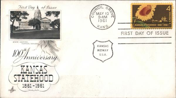 100th Anniversary Kansas Statehood 1861-1961 First Day Covers