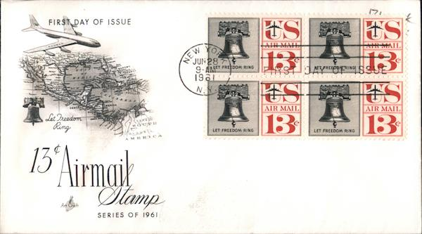13c Airmail Stamp Series of 1961 Block of Stamps First Day Covers