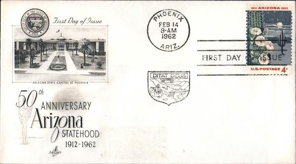 50th Anniversary Arizona Statehood 1912-1962 First Day Covers