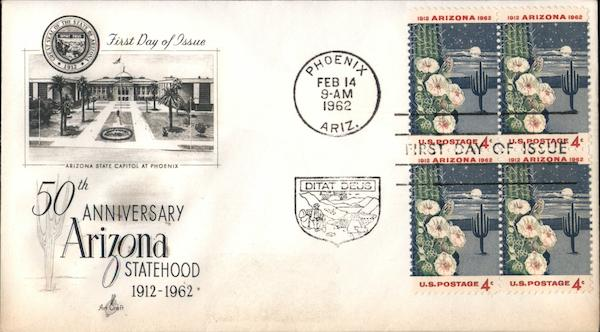 50th Anniversary Arizona Statehood 1912-1962 Block of Stamps