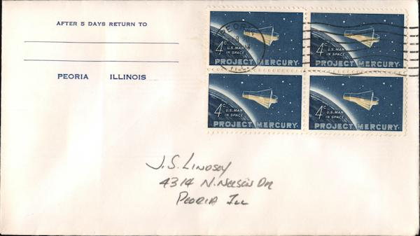 After 5 days return to Peoria, Illinois Block of Stamps