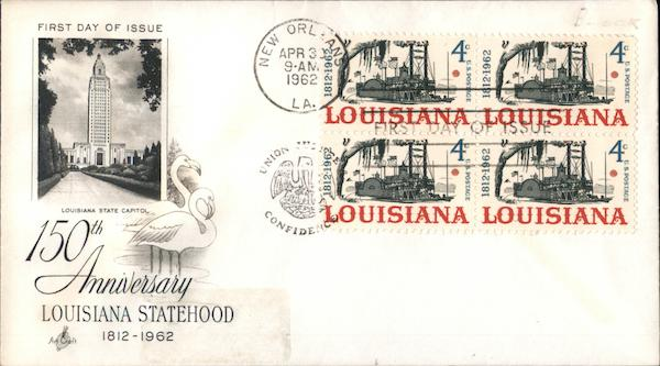 150th Anniversary Louisiana Block of Stamps First Day Covers