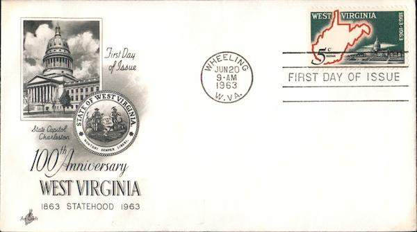 100th Anniversary, West Virginia, 1863-1963 First Day Covers