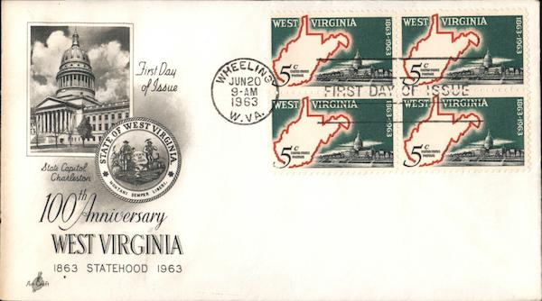 100th Anniversary West Virginia Statehood Block of Stamps