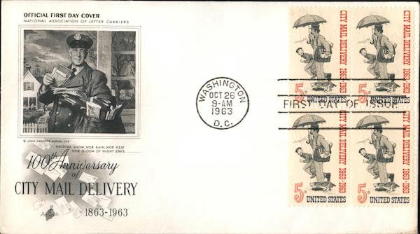 100th Anniversary of City Mail Delivery 1863-1963 Block of Stamps