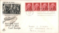 2c Regular Issue Coil Stamps Series of 1954 Block of Stamps First Day Cover