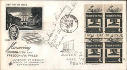 Honoring Journalism and Freedom of the Press Block of Stamps First Day Cover