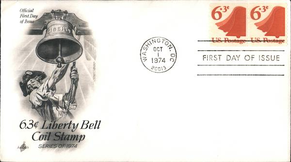 6.3¢ Liberty Bell Coil Stamp Series of 1974 First Day Covers