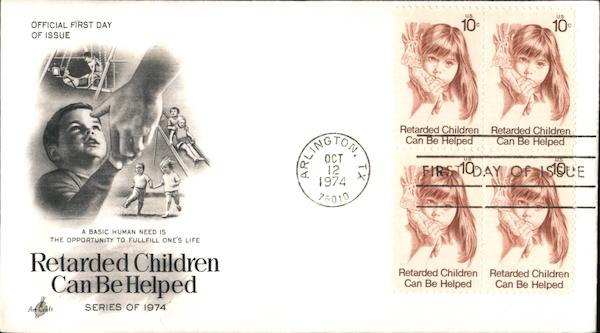 Retarded Children Can Be Helped Series of 1974 Block of Stamps