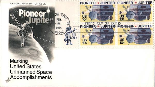 Pioneer Jupiter - Marking United States Unmanned Space Accomplishments Block of Stamps