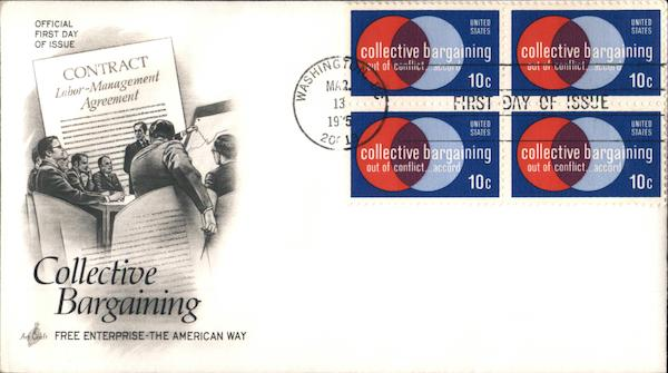 Collective Bargaining Block of Stamps First Day Covers