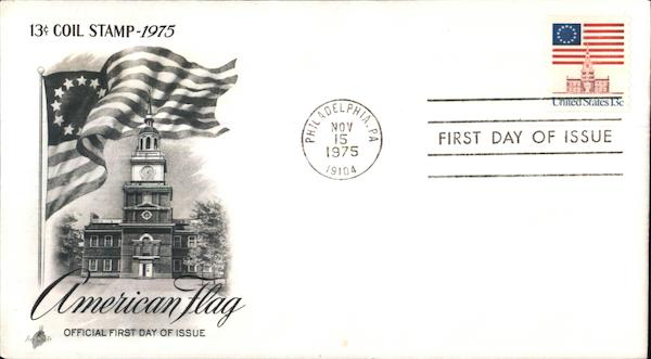 13¢ Coil Stamp 1975 American Flag First Day Covers