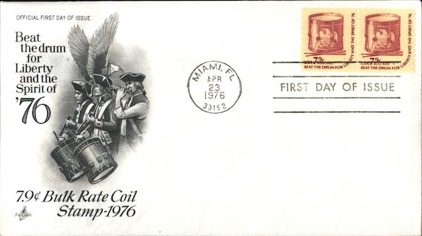 7.9¢ Bulk Rate Coil Stamp 1976 First Day Covers