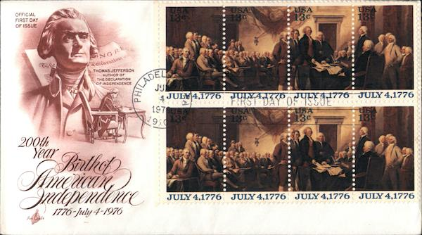 200th Year Birth of American Independence 1776-July 4-1976 Block of Stamps