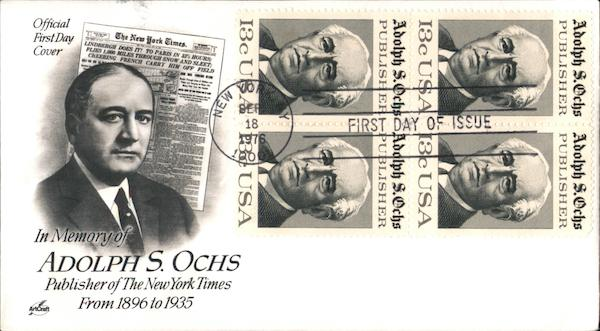 In Memory of Adolph S. Ochs Publisher of the New York Times From 1896 to 1935 Block of Stamps