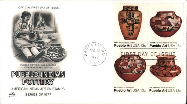 Pueblo Indian Pottery - American Indian Art on Stamps - Series of 1977 Block of Stamps