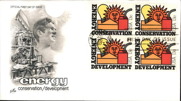 Energy Conservation/Development Block of Stamps First Day Covers