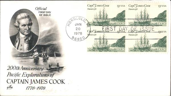 200th Anniversary Pacific Explorations of Captain James Cook 1778-1978 Block of Stamps