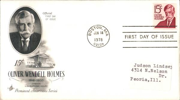 15¢ Oliver Wendell Holmes 1841-1935 First Day Covers