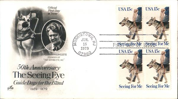 50th Anniversary The Seeing Eye - Guide Dogs for the Blind Block of Stamps