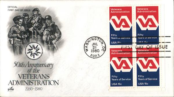 50th Anniversary of the Veterans Administration First Day Covers