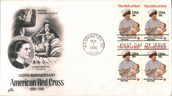 100th Anniversary American Red Cross 1881-1981 Block of Stamps