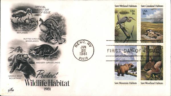 Protect Wildlife Habitat First Day Covers