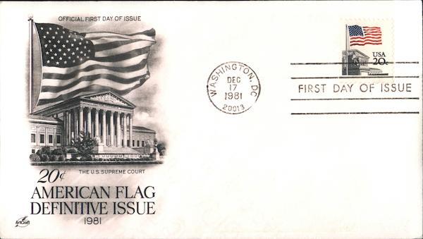 20¢ American Flag Definitive Issue 1981 First Day Covers