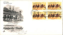 100th Running Kentucky Derby 1974 Block of Stamps