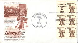 Liberty Bell Americana Series 13¢ Definitive Booklet Pane Block of Stamps First Day Cover