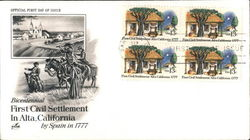 First Civil Settlement in Alta, California by Spain in 1777 Block of Stamps