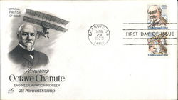 Honoring Octave Chanute Engineer, Aviation Pioneer 21¢ Airmail Stamp Block of Stamps