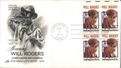 Honoring Will Rogers - Cowboy Actor and Humorist - Performing Arts Series 1979 Block of Stamps