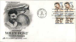 Honoring Wiley Post Aviation Pioneer 25¢ International Airmail Stamp