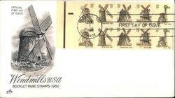 Windmills USA Booklet Pane Stamps 1980 Block of Stamps